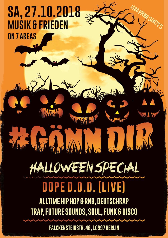 Musik & Frieden Berlin GönnDir Halloween Special on 7 Areas | 1500 Freeshots