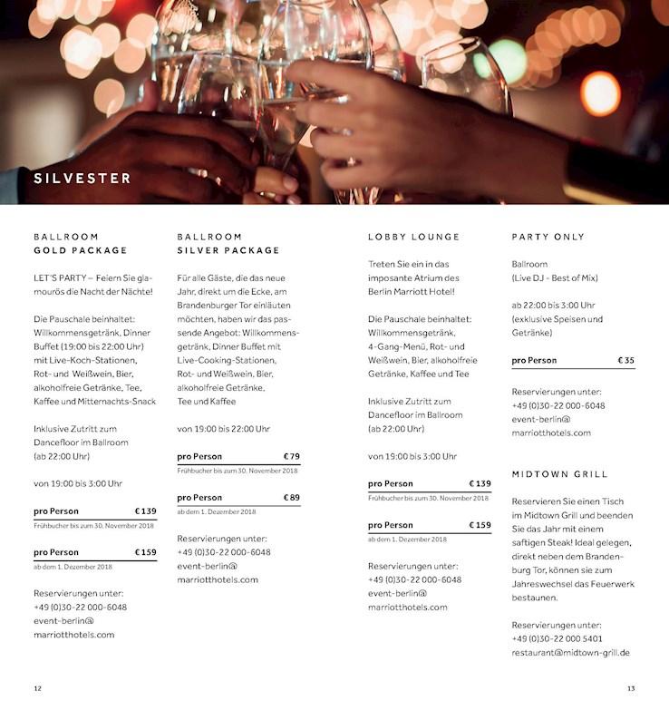 Marriott Hotel Berlin Berlin Eventflyer #1 vom 31.12.2018