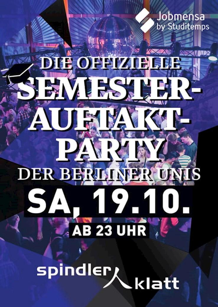 Spindler & Klatt 19.10.2019 Die offizielle Semesterauftakt Party der Berliner Unis