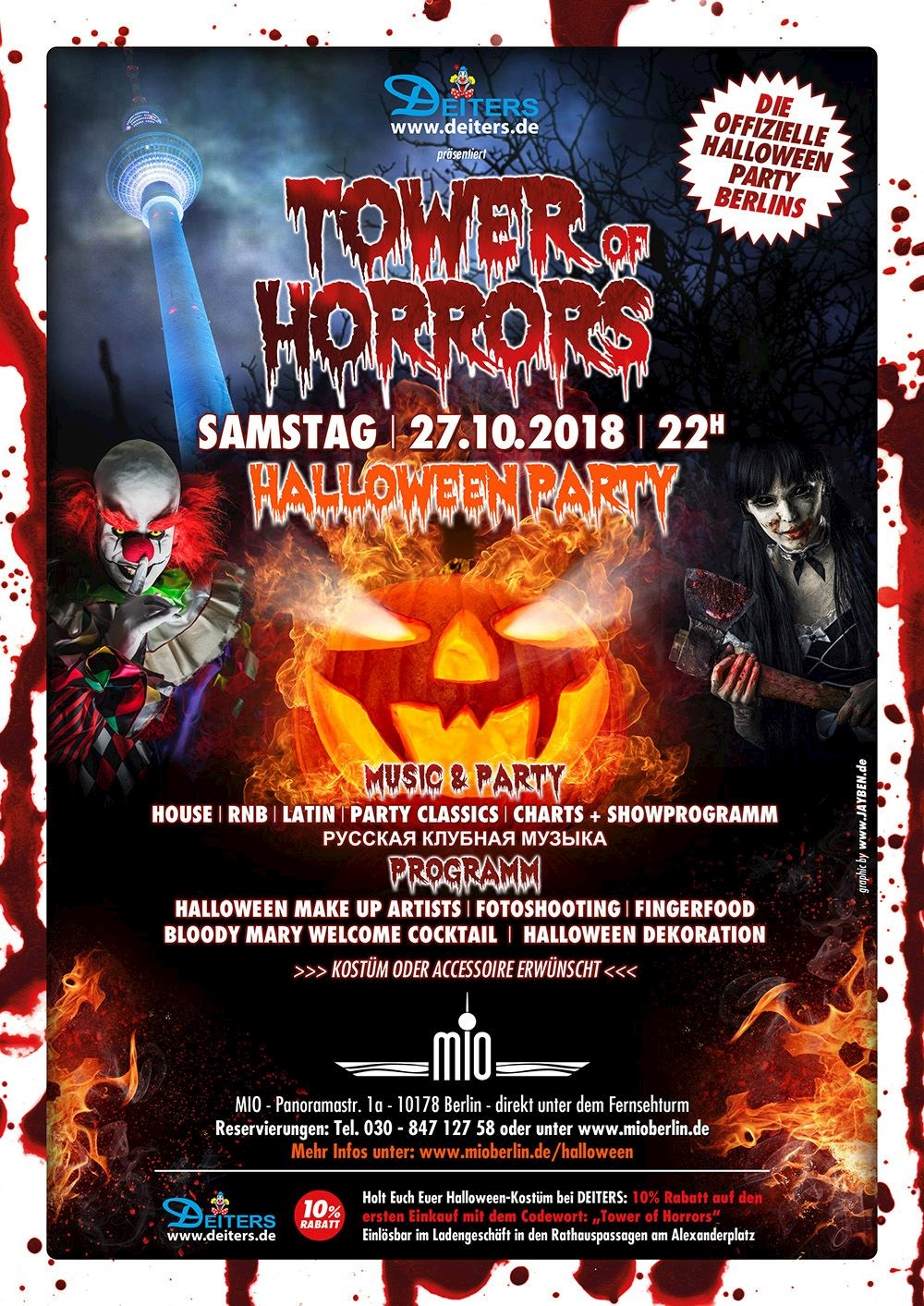 Mio Berlin 8. Tower of Horrors - Die Offizielle Halloween Party