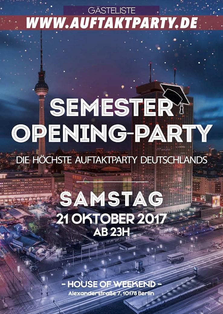 House of Weekend 21.10.2017 Auftaktparty der Berliner Unis- DAS Original über den Dächern Berlins