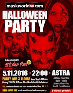 Astra Kulturhaus Berlin Die maskworld.com Halloween Party präsentiert von STAR FM